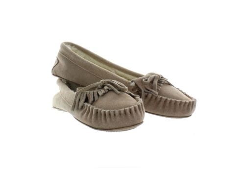 Sonoma Women/'s Genuine Suede Leather//Faux Fur Fringe Moccasins Slippers