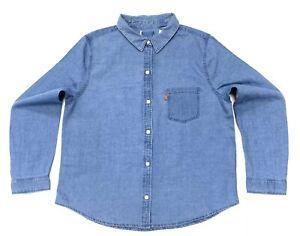 Levi-039-s-Femme-en-denim-style-chemise-bleu-taille-M