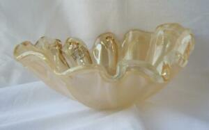Genuine-Art-Glass-Oval-Bowl-Amber-Color-by-Tammaro-Made-in-Italy-Murano-No-649