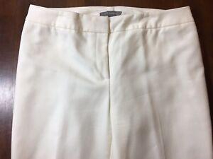 c307c284e3164 ANN TAYLOR IVORY LINED CAREER SLACKS Size 6 Cotton Rayon Spandex NWOT (10B)