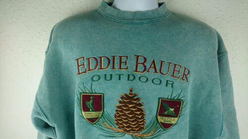 bordado L verde grande Cuello Eddie redondo Y Bauer suéter Vintage deletrear fqgpA