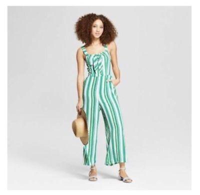 A New Day Women/'s Striped Sweetheart Neckline Jumpsuit Wide Leg Medium