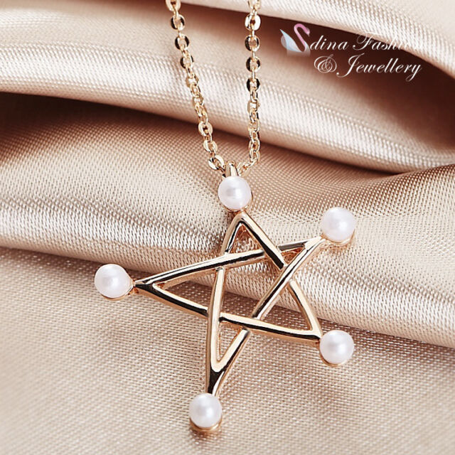 18K Rose Gold Plated Simulated Pearl Exquisite Star Necklace Fashion Jewllery