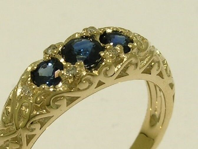 R162 SOLID 9K Yellow gold NATURAL Sapphire DIAMOND Ring Trilogy Anniversary sz M