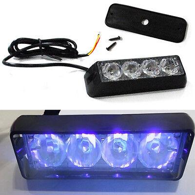 Super Bright 4 LED Car Truck Emergency Strobe Flash Blue Light Waterproof