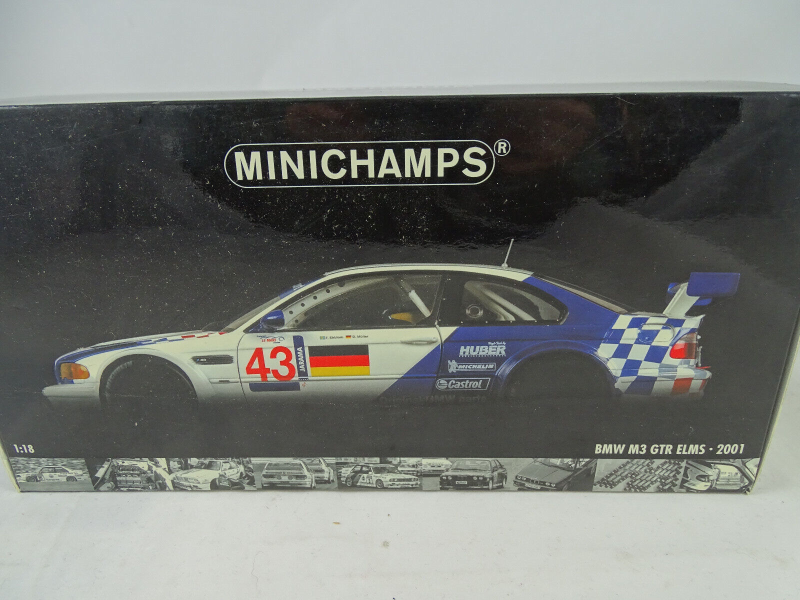 1 18 Minichamps  100012193 BMW M3 GTR ELMS Jarama 2001 Winners  43 Rarity NEW