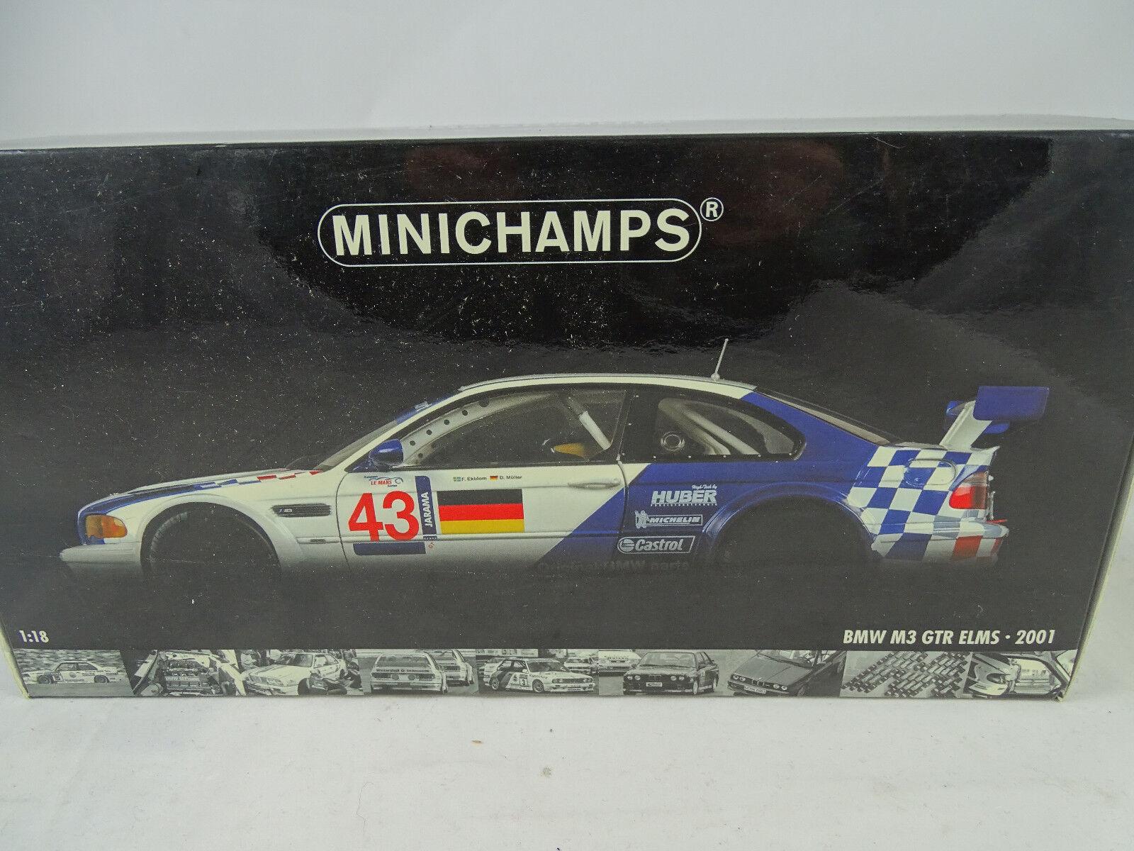 1 18 MINICHAMPS  100012193 BMW M3 GTR ELMS JARAMA 2001 Winners  43 RARITÄT neu