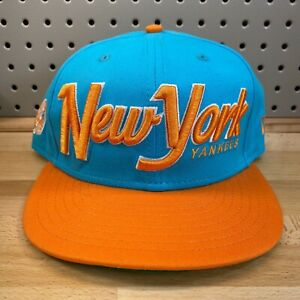 New-York-Yankees-MLB-Baseball-New-Era-9Fifty-Snap-Back-Hat-Blue-amp-Orange-EUC-Cap