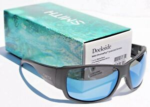 eee9342ded0 Image is loading SMITH-OPTICS-Dockside-POLARIZED-Sunglasses-Matte-Black -Blue-