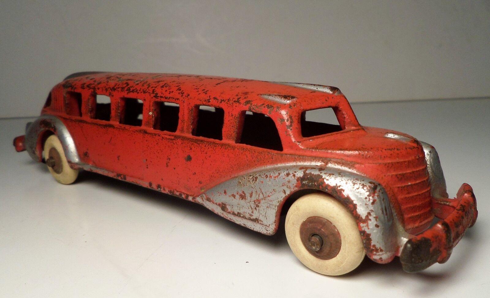 Hubley Art Deco Vintage Rojo y Plata futurista Bus 7 3 4  Abolladura Arcade