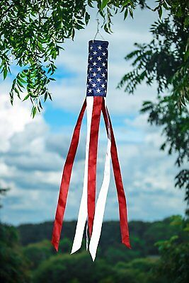 "Tea Stained USA Applique Windsock Patriotic American Flag Embroidered 60/""L"