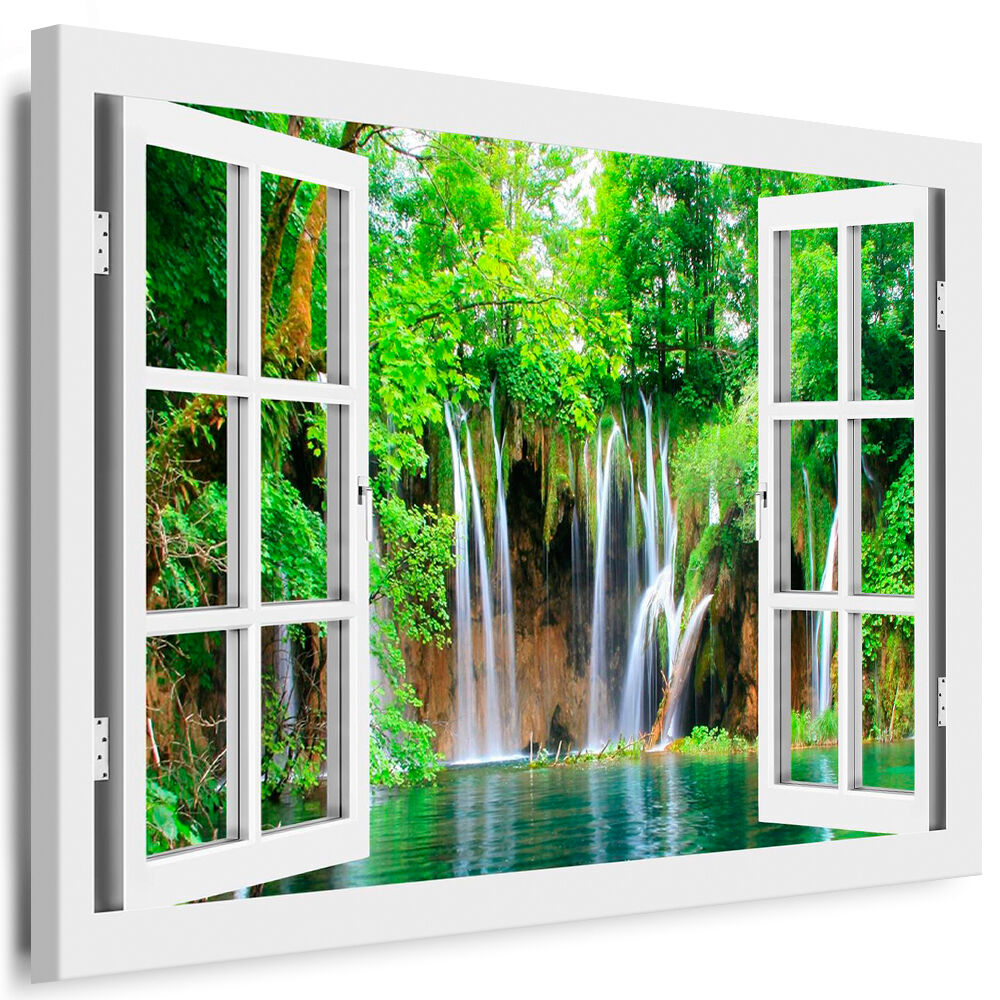 Bild auf Leinwand - Fensterblick Wasserfall - AA0256