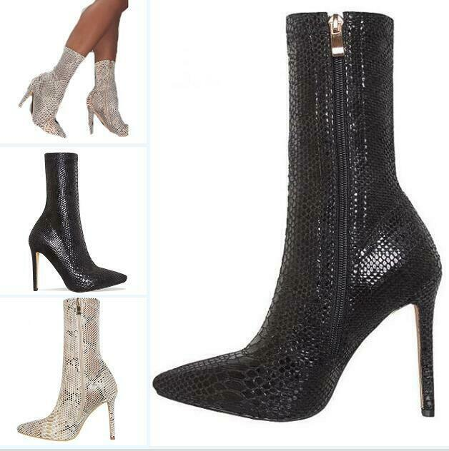 Womens Pointed Toe Snake Pattern Leather Zip Ankle Boots Party Hot New Stilettos