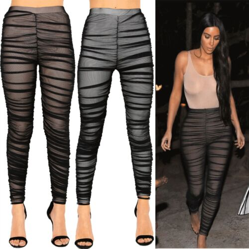 New Ladies Celeb Stretch Ruched Nude Sheer Mesh Leggings Pants Skinny Tight