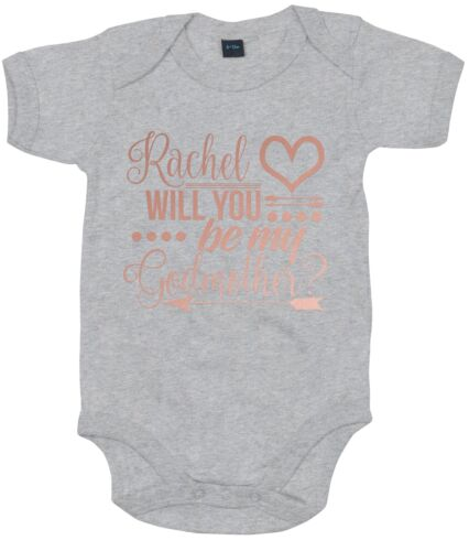 Rose Will You Be My God Mother CUSTOM NAME Baby Grow Cute God Daughter Gift AS40