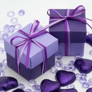 10-PURPLE-amp-LILAC-Two-Tone-Square-Box-amp-Lid-amp-Ribbon-Wedding-Favour-party-Gift