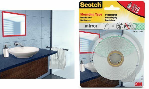 3M Scotch Montageklebeband Spiegel 5 m doppelseitiges Klebeband Badezimmer weiß