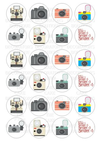 24 Photography Camera  Wafer Rice Cupcake Topper Edible Fairy Cake Bun Toppers