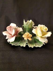 Nuova-Capodimonte-candlestick-holder-6-Fine-Porcelain-Centerpiece-Floral-Roses