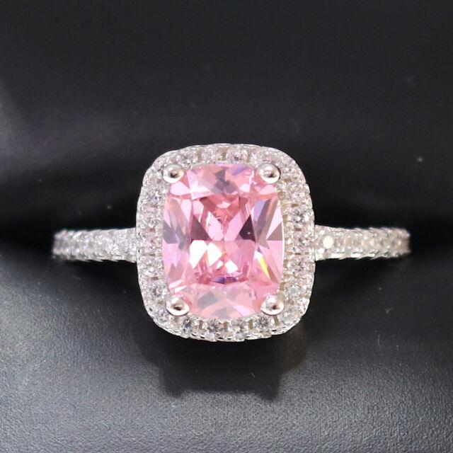 Sparkling Princess Pink Sapphire Ring Women Anniversary Jewelry 14K White Gold