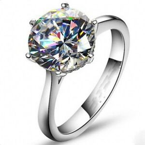 Classic-Women-Solitaire-Round-cut-4Ct-Diamonique-Cz-925-Silver-Wedding-Band-Ring