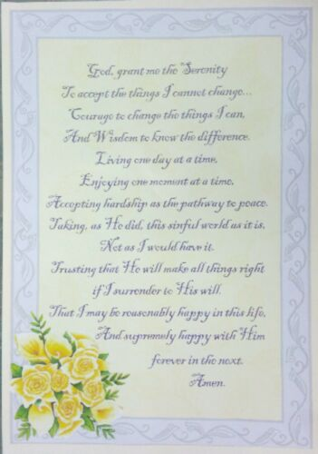 Jesus Christ Lord give me the Serenity Prayer A4 Laminated Poster floral
