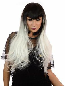 Ladies Gothic Fringe Long Black Deadly Beauty Halloween Cosplay Vampire Wig