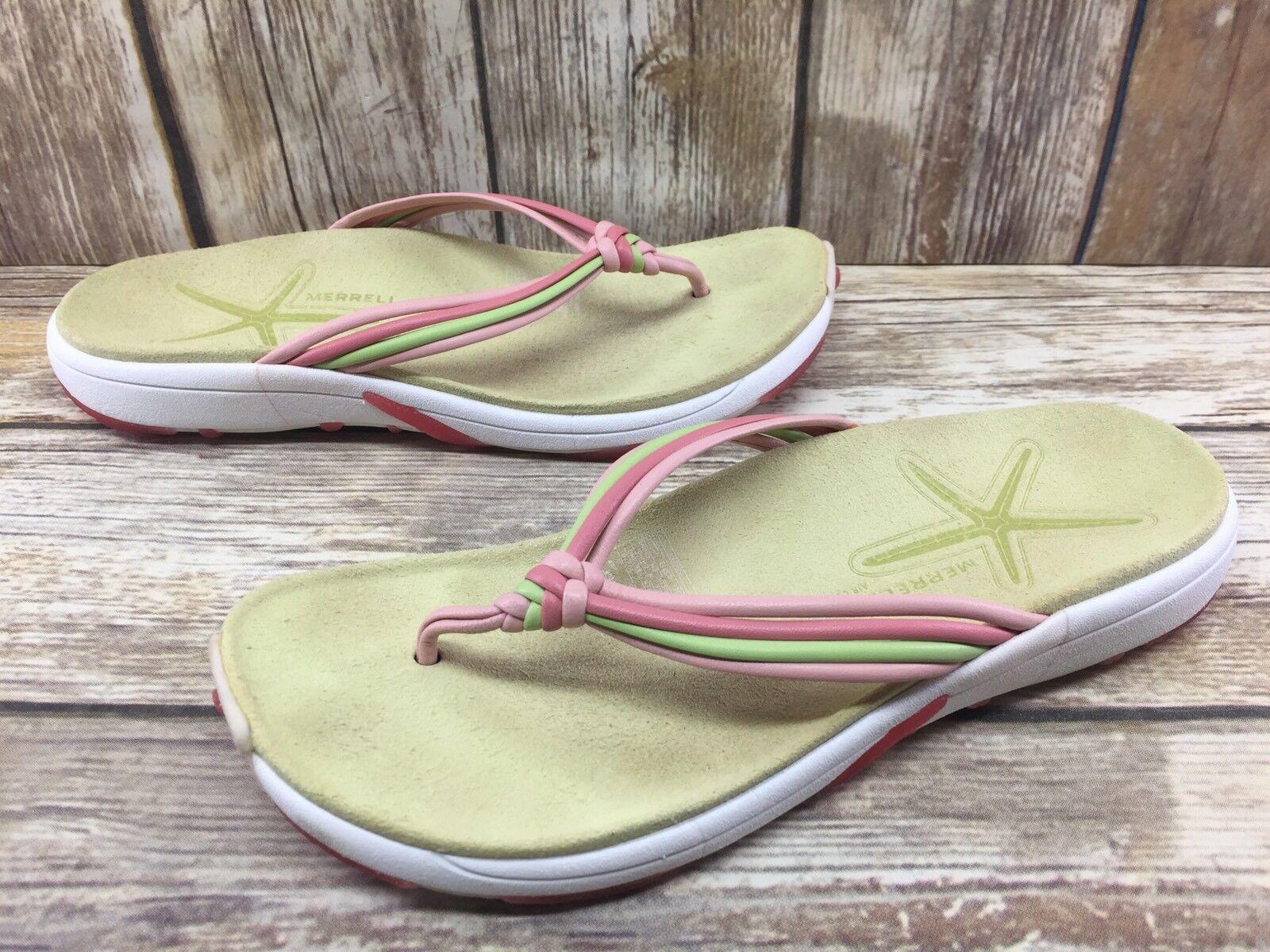 Merrell Kai Flops Pink/Green Strappy Rubber Flip Flops Kai Sandals Women's sz 8 8cf4c0
