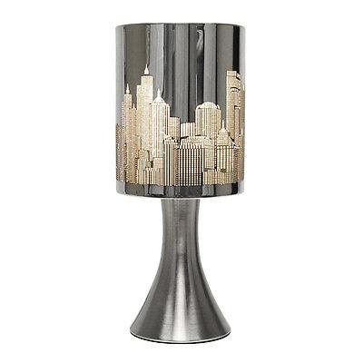 Modern Touch Lamp - New York Skyline Chrome Touch Bedside Table Light Lamp NEW