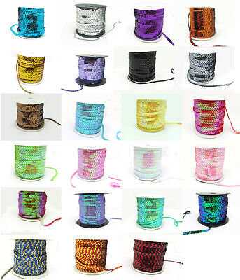 New 10/50Yards 6mm Sequins Strand Line Sew on Trim Spangles 23 Colors Pick