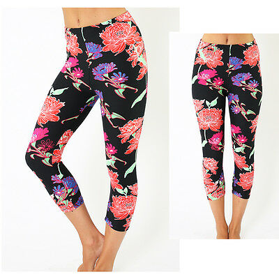 Fashion sexy Floral Print Skinny Stretch High Waist Capris Leggings  Pants