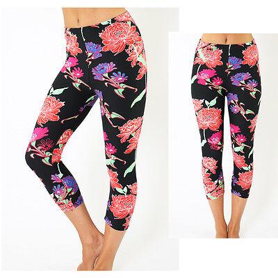 Fashion sexy Floral Print Skinny Stretch High Waist Capris Leggings  Pants