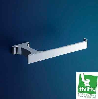 New Dorf Jovian Square Bathroom Toilet Roll Holder Chrome on Brass