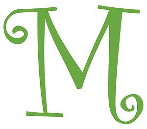 Letter M Initial Vinyl Car Decal Window Sticker Monogram Lettering