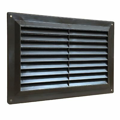 9 x 3 Brown Plastic Louvre Air Vent Grille with Removable Flyscreen Cover