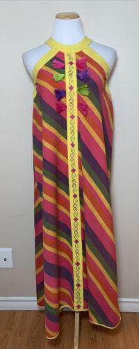 Vintage Diseno Josefa Mexican Dress Embroidered Ta