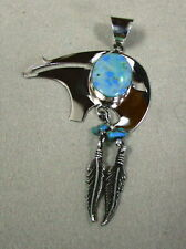 Sterling Silver and Turquoise Bear Fetish Pendant with Dangling Feathers
