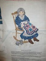 Vintage Granny And Her Quilt Soft Sculpture Doll Fabric Panel - 1990's