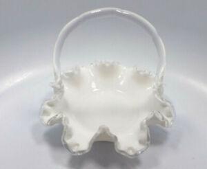 Vintage-Fenton-Silver-Crest-White-Milk-Glass-6-1-2-034-Basket