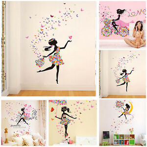 m dchen schmetterling tanz wandaufkleber wandsticker tattoo kinderzimmer dekor ebay. Black Bedroom Furniture Sets. Home Design Ideas