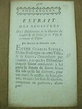 maitre  boulanger extrait registres police proces dette  pain 23 12 1778 dijon
