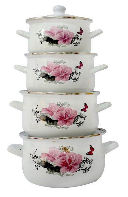 8 Pc Enamel Cookware Set Casserole Pots Lid Soup Stockpot Flowers
