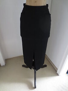 GIANFRANCO-FERRE-Rock-Gr-DE-34-36-schwarz-Damen-Skirt-Jupe-Maxirock