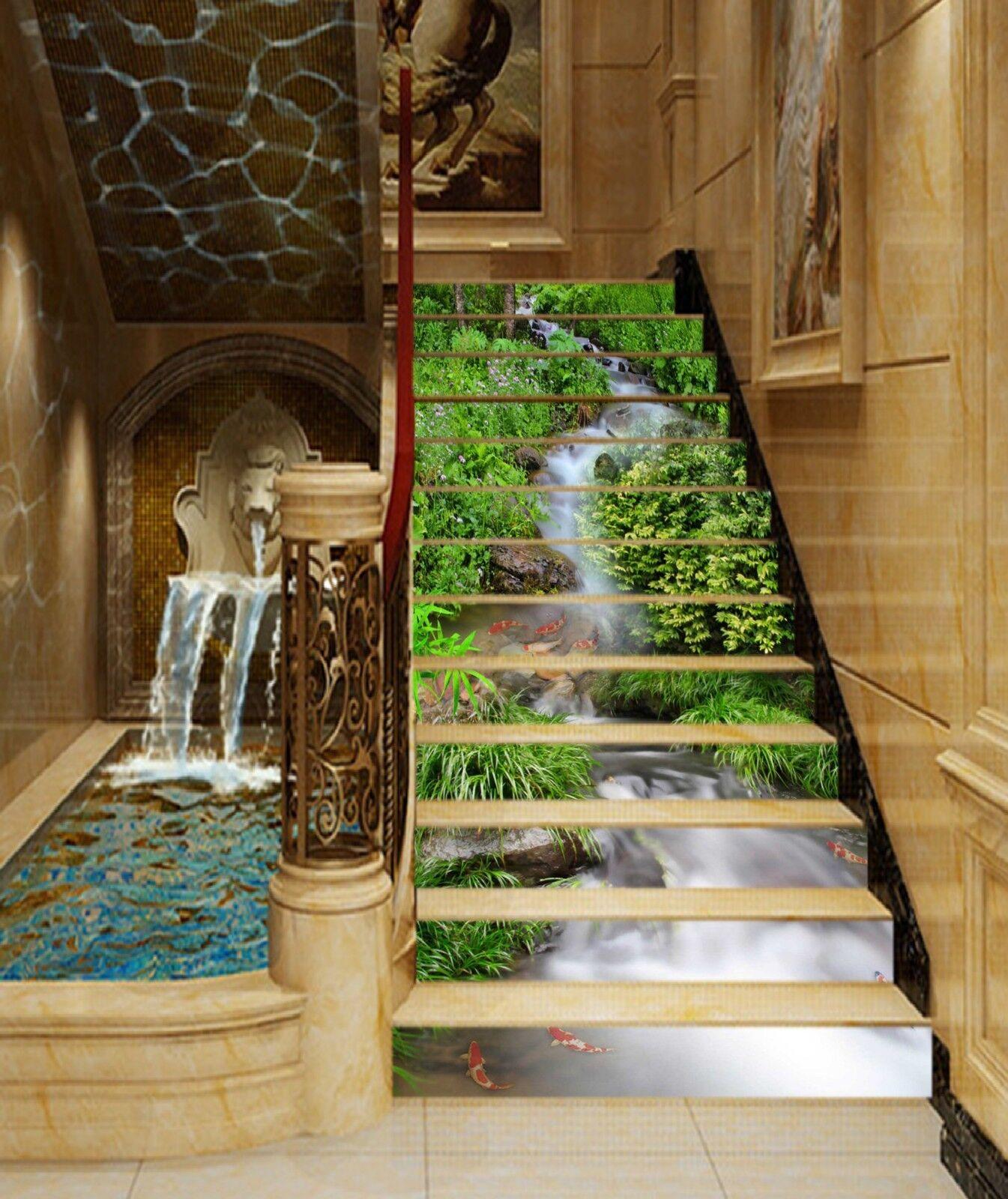 3D Fluss Karpfen 39 Stair Risers Dekoration Fototapete Vinyl Aufkleber Tapete DE