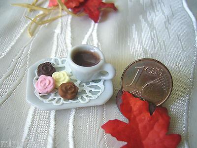 =1 SET KAFFEE + BLÜTEN-SCHOKOLADE= Bäckerei Puppenstube 1:12 / 1:10 by HW