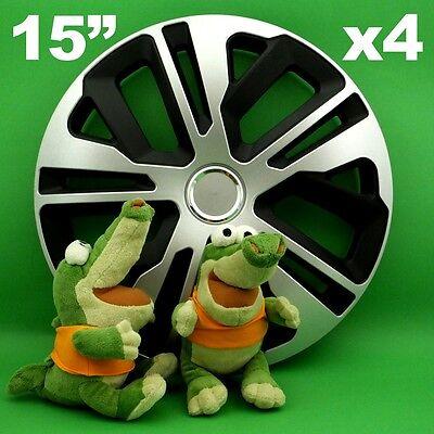 "HUBCAPS 15 /""TERRA 4xwheel Trim COVER BLACK+SILVER per LANCIA LYBRA YPSILON MAZDA"