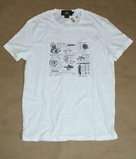 $95 RRL Double RL Ralph Lauren Men Vintage White Moto T-Shirt  Size: Medium New