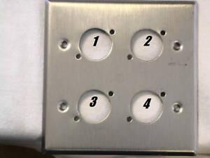Leviton-Stainless-Steel-Wallplate-Double-Gang-Four-Neutrik-034-D-034-Holes