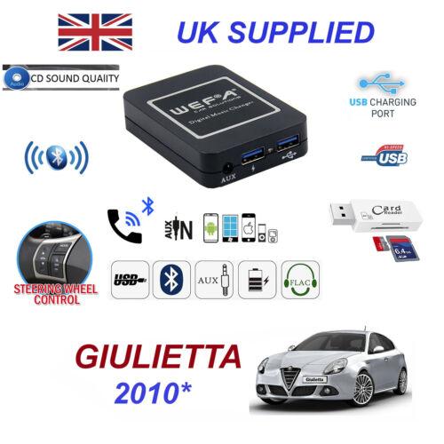 For Alfa Giulietta Bluetooth Telephone Streaming AUX Input 2x USB SD Card Reader