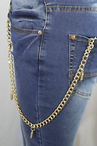 New-Men-Gold-Metal-Long-Wallet-Chain-KeyChain-Fashion-Skeleton-Skull-Gun-Bullet